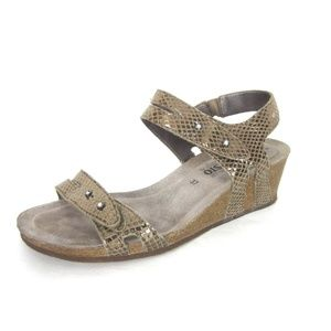 Mephisto 37 7 Minoa Bronze Wedge Heels Sandals